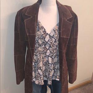 100% Leather Chocolate Stitched  3/4 Jacket